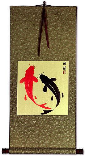 Classic Yin Yang Fish Silk Wall Scroll