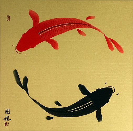 "See how ""Large Yin Yang Koi Fish Painting"" would look after being professionally framed"