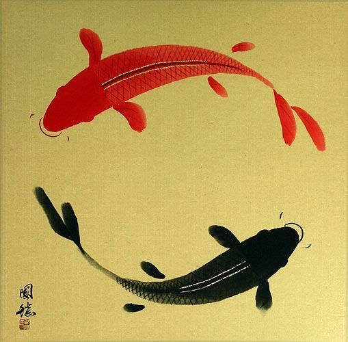 Big Yin Yang Koi Fish Painting