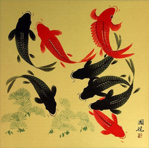 Large Koi Fish Painting on Antiqued Paper