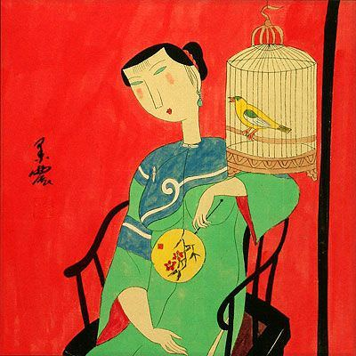 Woman and Bird Cage - Modern Art Painting