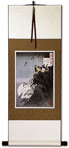 Samurai Hideyoshi Bravely Climbing - Japanese Woodblock Print Repro - Wall Scroll