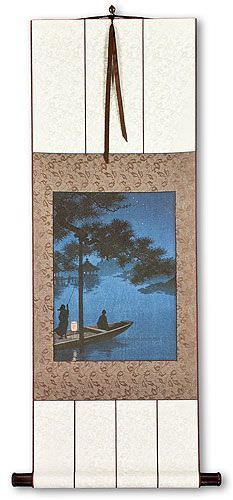 Shubi Pine at Lake Biwa - Japanese Woodblock Print Repro - Small Wall Scroll