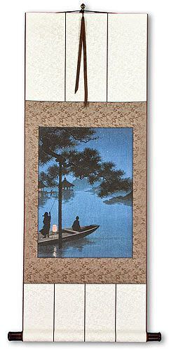 Shubi Pine at Lake Biwa - Japanese Woodblock Print Repro - Wall Scroll