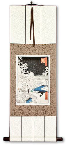 Snowy Bridge Landscape - Japanese Woodblock Print Repro - Wall Scroll