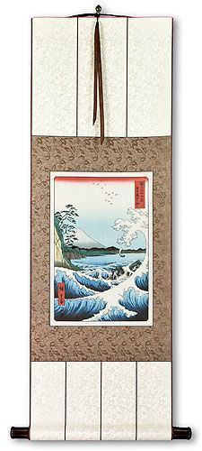 Japanese Wave Woodblock Print Wall Scroll