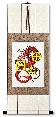 Bushido, Ishoa and Kyunnin Cross Dragon Wall Scroll