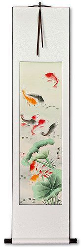 Koi Fish & Lotus Flower - Chinese Wall Scroll