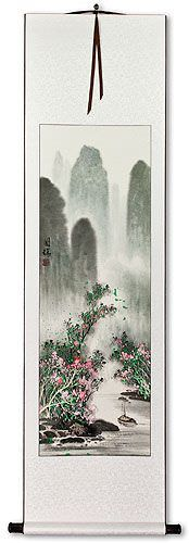 Asian Boat on River Landscape Wall Scroll