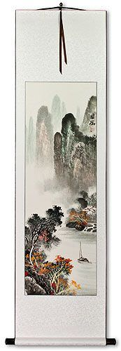 Asian Waterfall and Boat on River Landscape Wall Scroll