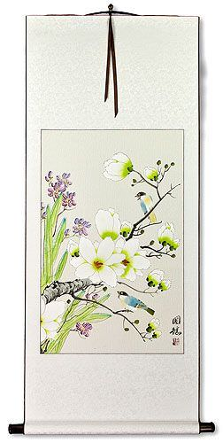 Bird & Flower Wall Scroll