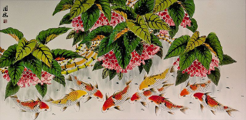 Koi Fish Feeding - Large Chinese Painting