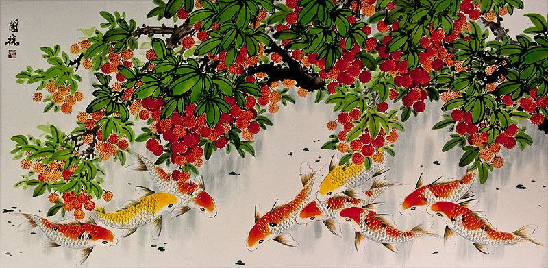 Huge Koi Fish and Lychee Fruit Chinese Painting