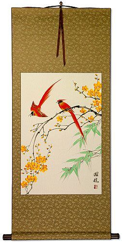 Red Cardinals and Yellow Plum Blossom Wall Scroll