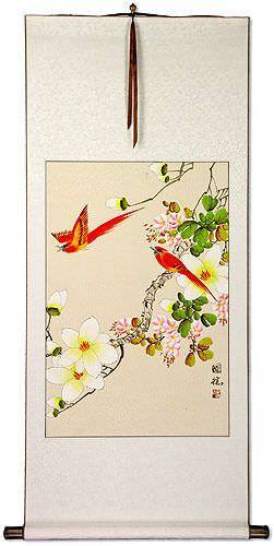 Cardinal Birds and Flower Wall Scroll
