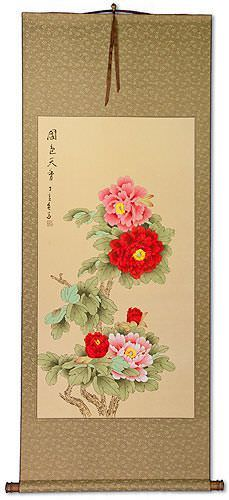 Large Red and Pink Peony Flower Wall Scroll