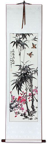 Chinese Bamboo and Plum Blossom Wall Scroll