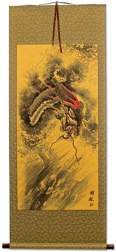 Flying Chinese Dragon - Asian Wall Scroll