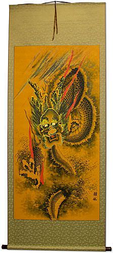 Flying Chinese Dragon Wall Scroll