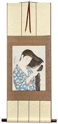 Woman in Blue Combing Hair - Japanese Woodblock Print Repro - Wall Scroll