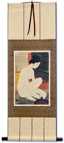 Nude Bathing Woman - Japanese Woodblock Print Repro - Wall Scroll