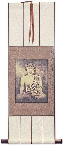 Stone Buddha - Japanese Woodblock Print Repro - Wall Scroll