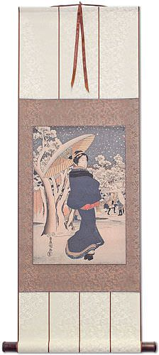 Woman Strolling in Asakusa - Japanese Woodblock Print Repro - Wall Scroll
