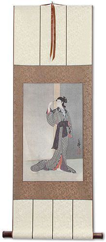 Courtesan with a View of the Rain - Japanese Woodblock Print Repro - Wall Scroll