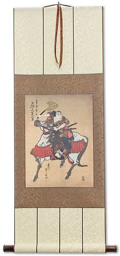 Samurai Awashima Kainosuke on Horseback - Japanese Woodblock Print Repro - Wall Scroll