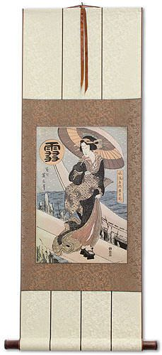 Beauty in the Snow - Japanese Woodblock Print Repro - Wall Scroll