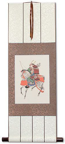 Samurai on Horseback - Japanese Print Repro - Wall Scroll