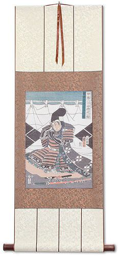Japanese Samurai Woodblock Print Reproduction Wall Scroll