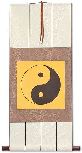 Orange Yin Yang Symbol - Wall Scroll