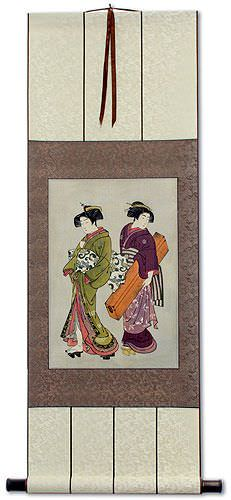 Geisha & Servant Carrying a Shamisen Box - Japanese Woodblock Print Repro - Large Wall Scroll