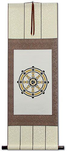 Buddhist Wheel Symbol Print - Wall Scroll