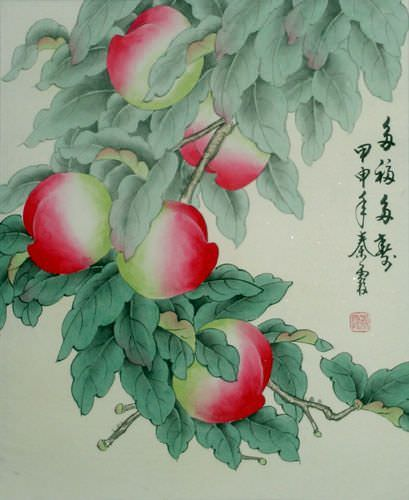 Happy and Long Life Wishes - Peaches Painting