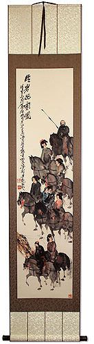 Tang Dynasty Horses and Riders Wall Scroll