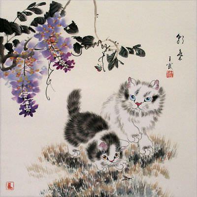 Naughty Kittens Painting