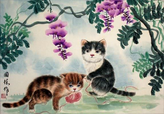 Kittens at Play - Asian Painting