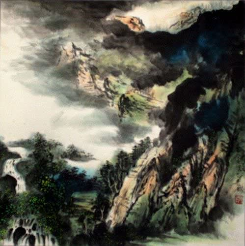 Chinese Waterfall Landscape Painting