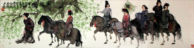 Wide Traveling on Horseback Painting