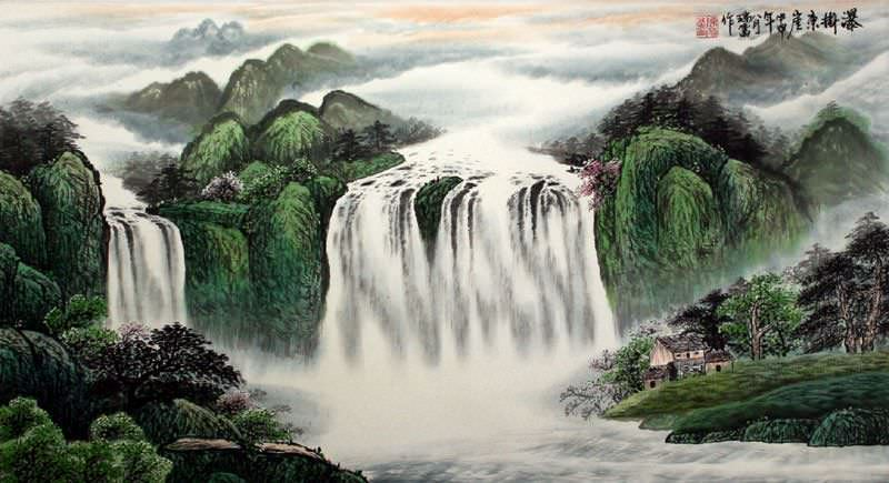 Waterfall Hanging on the East Cliff - Large Landscape Painting