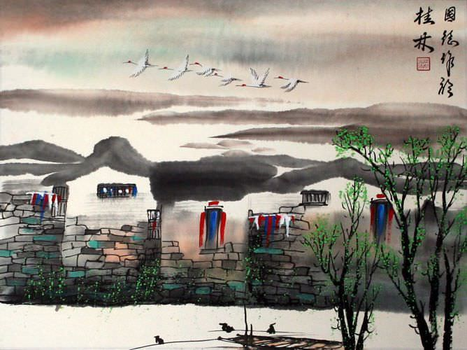 Birds Over Suzhou - Chinese Venice Painting