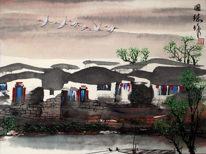 Birds Over Suzhou - Asian Watertown Painting