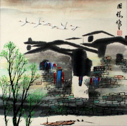 "See how ""Birds Over Suzhou - Chinese Venice Painting"" would look after being professionally framed"