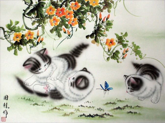 "See how ""Kittens at Play - Asian Painting"" would look after being professionally framed"