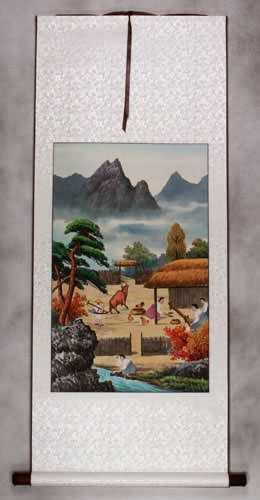 North Korean Harvest Time Wall Scroll Korean Artwork