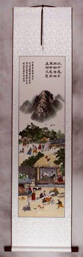 North Korean Folk Art Wall Scroll
