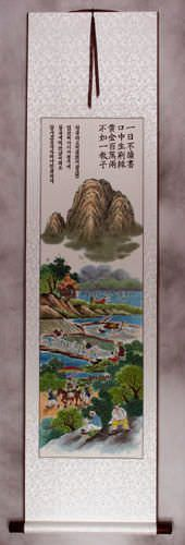 North Korean Green River Village Wall Scroll