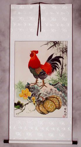 Asian Farmyard Rooster Wall Scroll